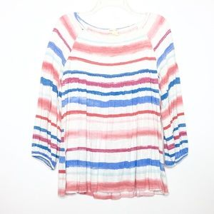 Anthro Meadow Rue Striped Smocked Blouse Sz L
